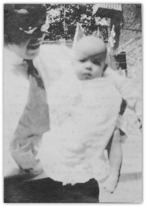 Robert F. Berryman, my grandfather, holding baby Theodore Newton Berryman, my father, Woodcliff Lake, New Jersey, 1917