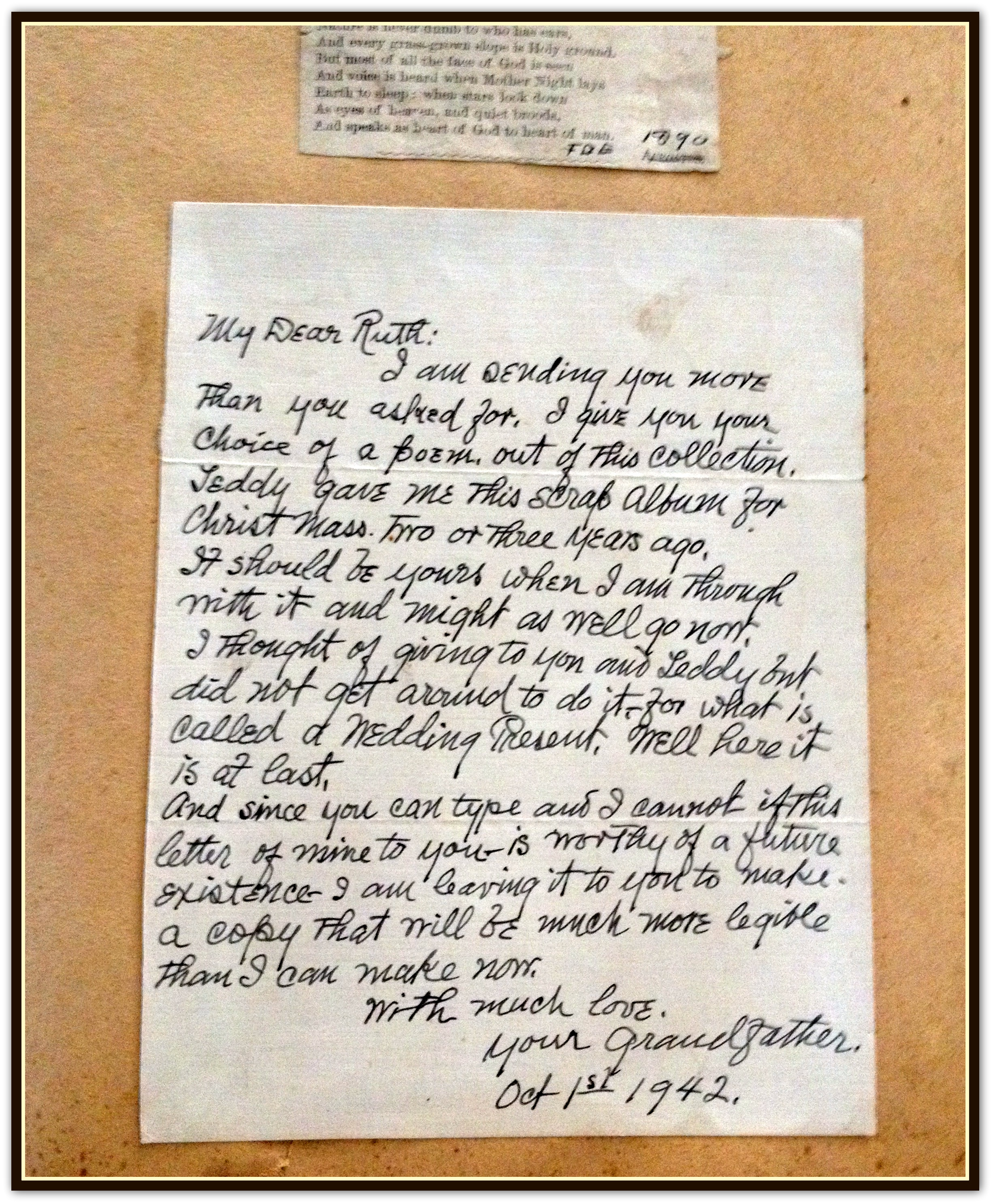 FO Eggleston scrapbook letter to Ruth Berryman