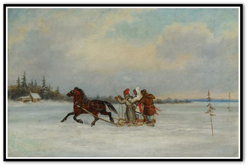 'Habitants_with_Sleigh',_oil_painting_by_Cornelius_Krieghoff